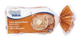 Great Value 100% Whole Wheat English Muffins