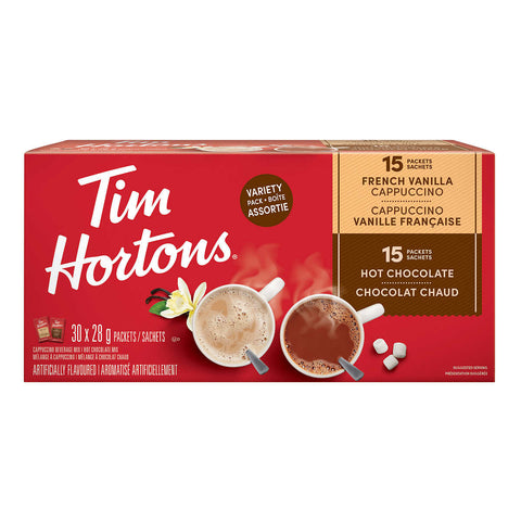 Tim Hortons Hot Chocolate and French Vanilla Cappuccino Variety Pack