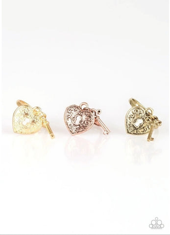 Paparazzi Accessories - Starlet Shimmer - Heart Locket Rings With Key
