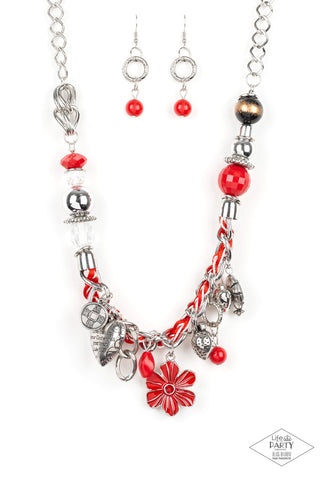 Paparazzi Accessories - Charmed, I Am Sure - Red Necklace Set