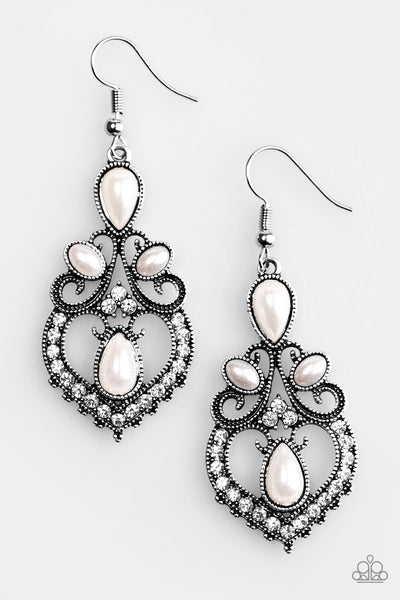 Paparazzi Accessories - Crowns Up - White Earrings - JMJ Jewelry Collection
