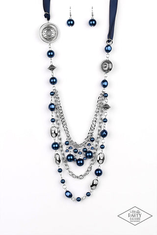 Paparazzi Accessories - All The Trimmings - Blue Necklace Set - JMJ Jewelry Collection