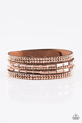 Paparazzi Accessories - Rhinestone Rock Star - Copper Bracelets - JMJ Jewelry Collection