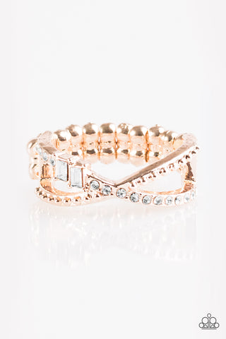 Paparazzi Accessories - In The Glitter Zone - Rose Gold Ring - JMJ Jewelry Collection