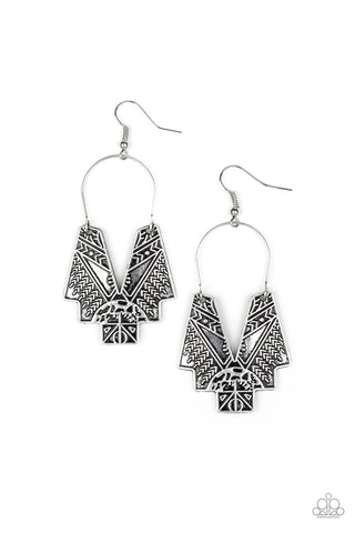 Paparazzi Accessories - Alternative ARTIFACTS - Silver Earrings - JMJ Jewelry Collection