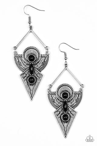 Paparazzi Accessories - Desert Dynasty - Black Earrings - JMJ Jewelry Collection