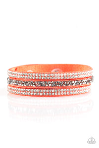 Paparazzi Accessories - Mega Glam - Orange Bracelet - JMJ Jewelry Collection