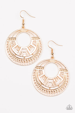 Paparazzi Accessories - Modernly Mayan - Gold Earrings - JMJ Jewelry Collection