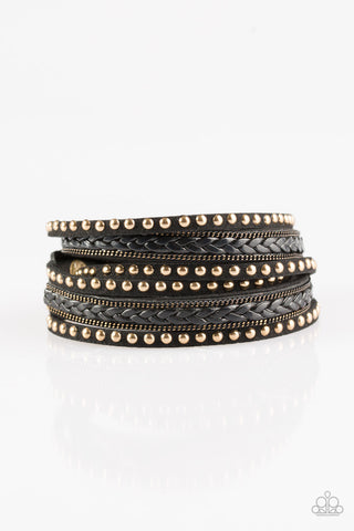 Paparazzi Accessories - Bossy Bombshell - Black Bracelets - JMJ Jewelry Collection
