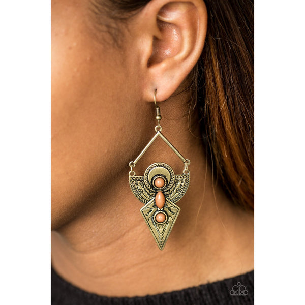 Paparazzi Accessories -   Desert Dynasty - Brown Earrings - JMJ Jewelry Collection