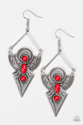 Paparazzi Accessories - Desert Dynasty - Red Earrings - JMJ Jewelry Collection