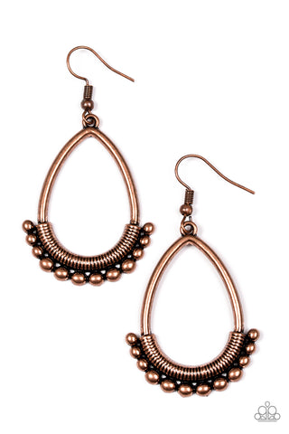 Paparazzi Accessories - Steal The Thunder - Copper Earrings - JMJ Jewelry Collection