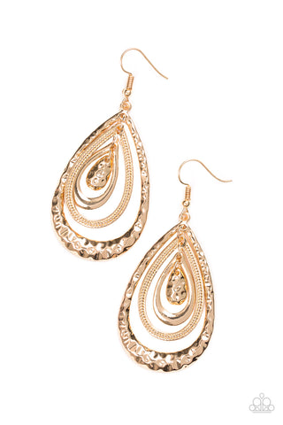 Paparazzi Accessories - Metallic Monsoon - Gold Earrings - JMJ Jewelry Collection