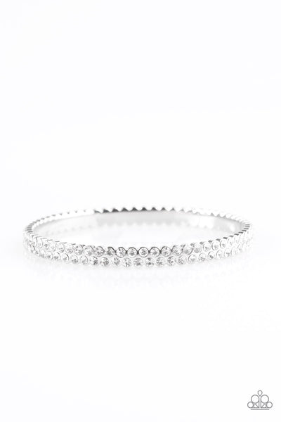 Paparazzi Accessories - Decked Out In Diamonds - White Bracelets - JMJ Jewelry Collection