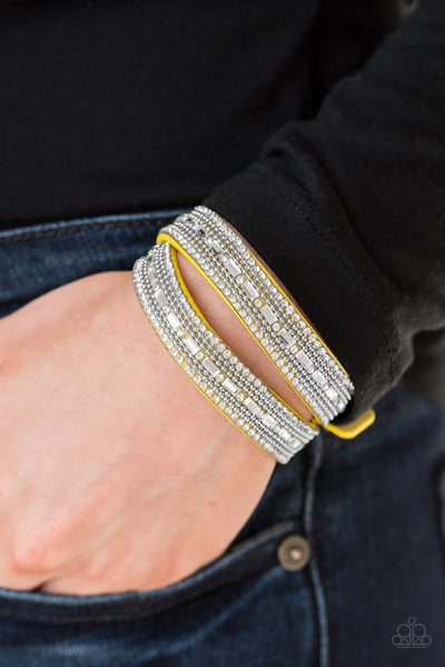 Paparazzi Accessories - Shimmer and Sass - Yellow Bracelet - JMJ Jewelry Collection