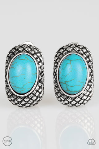 Paparazzi Accessories - Bedrock Bombshell - Blue Earrings - JMJ Jewelry Collection