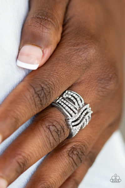 Paparazzi Accessories - Showbiz Beauty - White Ring - JMJ Jewelry Collection