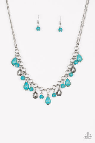 Paparazzi Accessories - Welcome To Bedrock - Blue Necklace Set - JMJ Jewelry Collection
