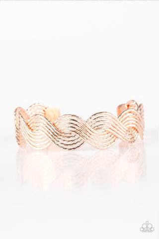 Paparazzi Accessories - Braided Brilliance - Rose Gold Bracelet - JMJ Jewelry Collection