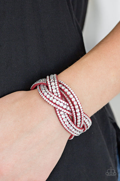 Paparazzi Accessories - Bring On The Bling - Red Wrap Bracelet - JMJ Jewelry Collection
