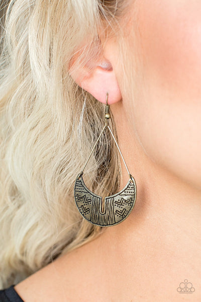 Paparazzi Accessories - Trading Post Trending - Brass Earrings - JMJ Jewelry Collection