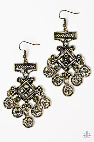 Paparazzi Accessories - Unexplored Lands - Brass Earrings - JMJ Jewelry Collection