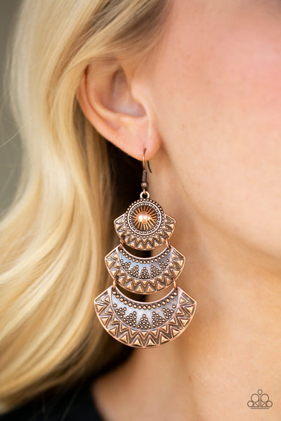Paparazzi Accessories - Impressively Empress - Copper Earrings - JMJ Jewelry Collection