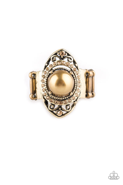 Paparazzi Accessories - Pearl Posh - Brass Ring - JMJ Jewelry Collection