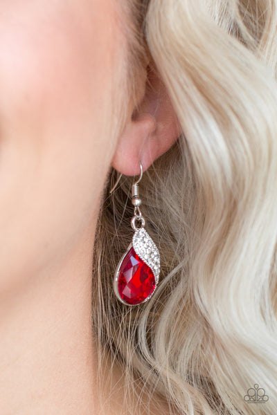 Paparazzi Accessories - Easy Elegance - Red Earring - JMJ Jewelry Collection