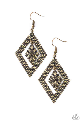 Paparazzi Accessories - Dusky Dunes - Brass Earrings - JMJ Jewelry Collection