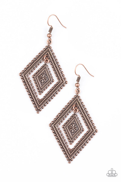 Paparazzi Accessories - Dusky Dunes - Copper Earrings - JMJ Jewelry Collection