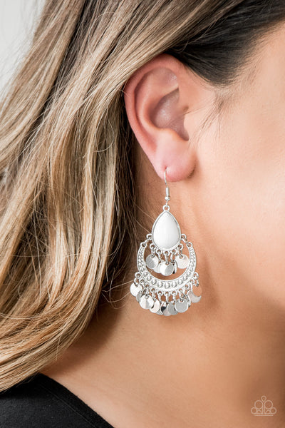 Paparazzi Accessories - Bodaciously Boho - White Earrings - JMJ Jewelry Collection
