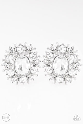 Paparazzi Accessories - Serious Star Power - White Earrings - JMJ Jewelry Collection