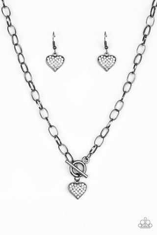 Paparazzi Accessories - Harvard Hearts - Black Necklace Set - JMJ Jewelry Collection