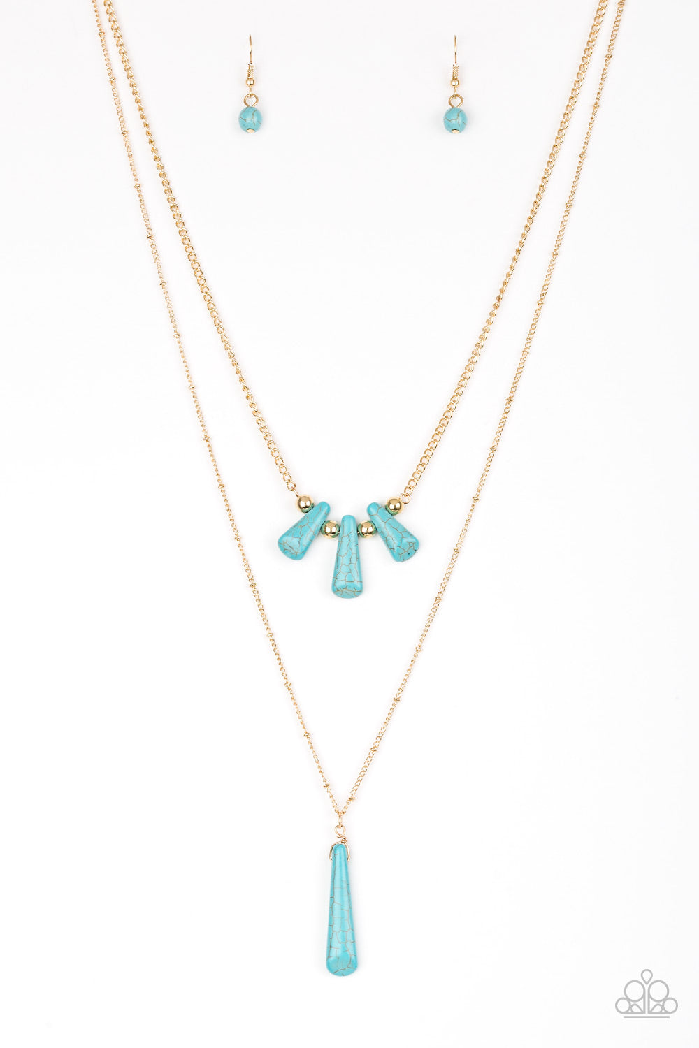Paparazzi Accessories - Basic Groundwork - Blue Necklace Set - JMJ Jewelry Collection