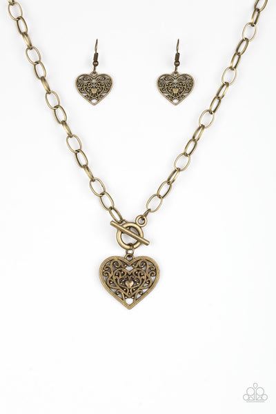 Paparazzi Accessories - Victorian Romance - Brass Necklace Set - JMJ Jewelry Collection