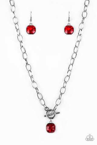 Paparazzi Accessories - Dynamite Dazzle - Red Necklace Set - JMJ Jewelry Collection