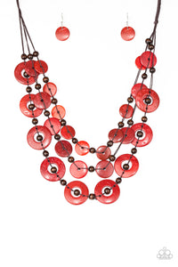 Paparazzi Accessories - Catalina Coastin - Red Necklace Set - JMJ Jewelry Collection