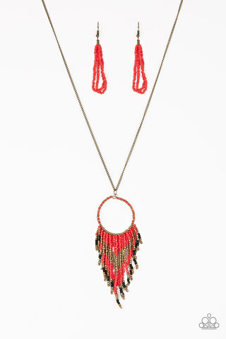 Paparazzi Accessories - Badlands Beauty - Red Necklace Set - JMJ Jewelry Collection