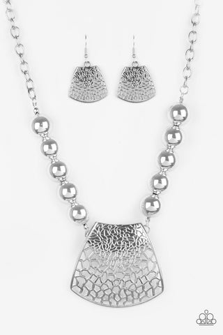Paparazzi Accessories - Large and In Charge - Silver Necklace Set - JMJ Jewelry Collection