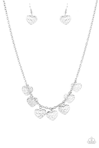 Paparazzi Accessories - Less Is AMOUR - Silver Necklace Set - JMJ Jewelry Collection