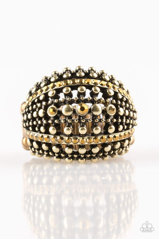 Paparazzi Accessories - Up In ARMOR - Brass Ring - JMJ Jewelry Collection