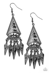 Paparazzi Accessories - Me Oh MAYAN - Black Earrings - JMJ Jewelry Collection