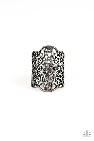 Paparazzi Accessories - The Way You Make Me FRILL - Black Ring - JMJ Jewelry Collection