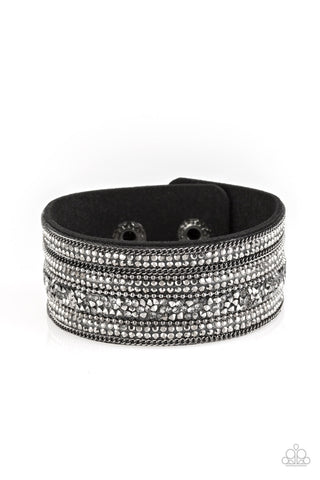 Paparazzi Accessories - Really Rock Band - Black Wrap Bracelet - JMJ Jewelry Collection