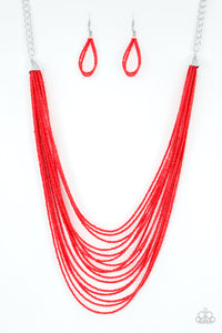 Paparazzi Accessories - Peacefully Pacific - Red Necklace Set - JMJ Jewelry Collection