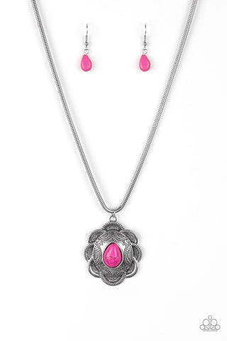 Paparazzi Accessories - Mojave Meadow - Pink Necklace Set - JMJ Jewelry Collection