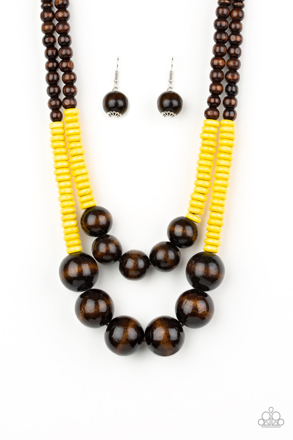 Paparazzi Accessories - Cancun Cast Away - Yellow/Brown Necklace Set - JMJ Jewelry Collection