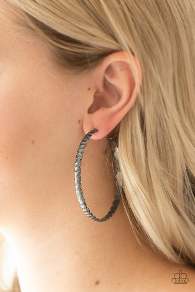 Paparazzi Accessories - Totally Off The HOOP - Black Earrings - JMJ Jewelry Collection