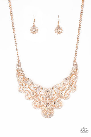 Paparazzi Accessories - Mess With The Bull - Rose Gold Necklace Set - JMJ Jewelry Collection